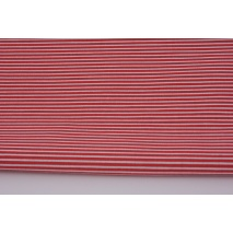 Cotton 100% white stripes on a red background 2mm