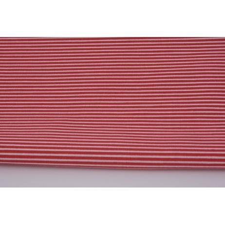 Bawełna 100% paski biało czerwone 2mm