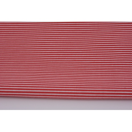 Cotton 100% white strips on a red background