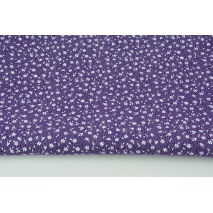 Cotton 100% white meadow on a dark violet background, small flowers