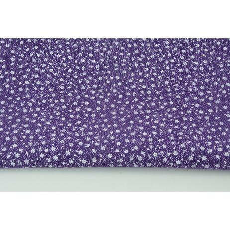 Bawełna 100% biała łączka na ciemnym fioletowym tle, drobne kwiatki