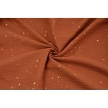 Muślin bawełniany, rudy w złote mini gwiazdki