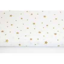 Cotton 100% gold stars on a white background II quality
