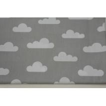 Bawełna 100% chmurki na jasnoszarym tle - II jakość