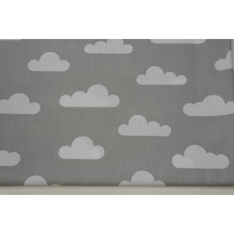 Cotton 100% white clouds on a light gray background
