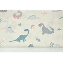 Bawełna 100% dinozaury na kremowym tle