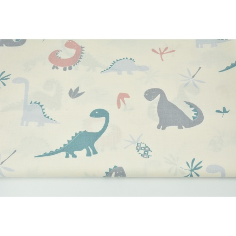 Cotton 100% dinosaurs on a cream background