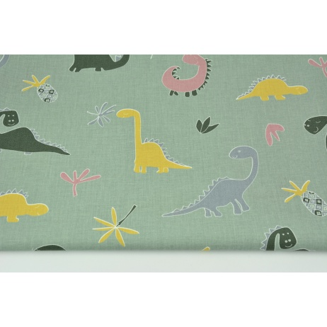 Cotton 100% dinosaurs on a sage background
