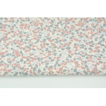 Bawełna 100% różowo-szare kamyki na kremowym tle