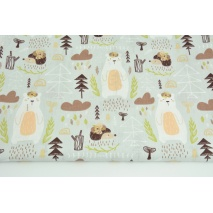 Cotton 100% bears and hedgehogs in a forest on a pigeon background
