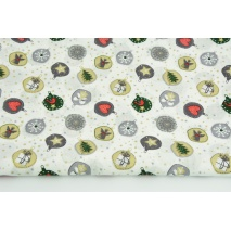 Cotton 100% small Christmas balls with gold on a white background, poplin