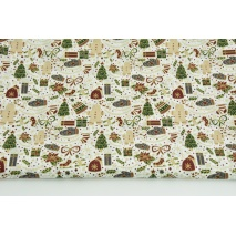 Cotton 100% Christmas themes with gold on a white background, poplin