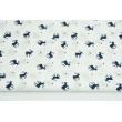 Cotton 100% small navy reindeers on a white background, poplin