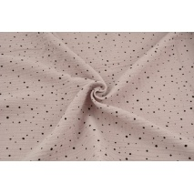 Double gauze 100% cotton mini black spots on a powder pink background