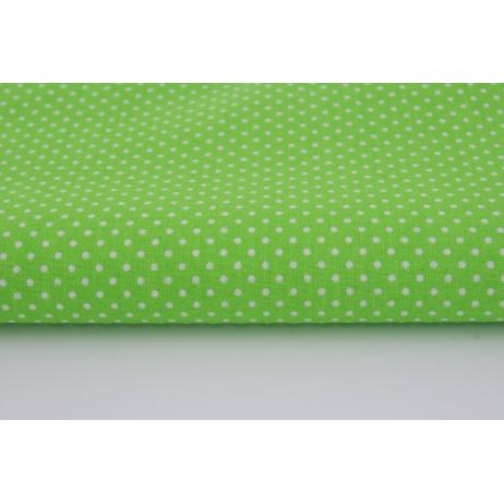 Bawełna 100% kropki białe 2mm na jaskrawozielonym tle