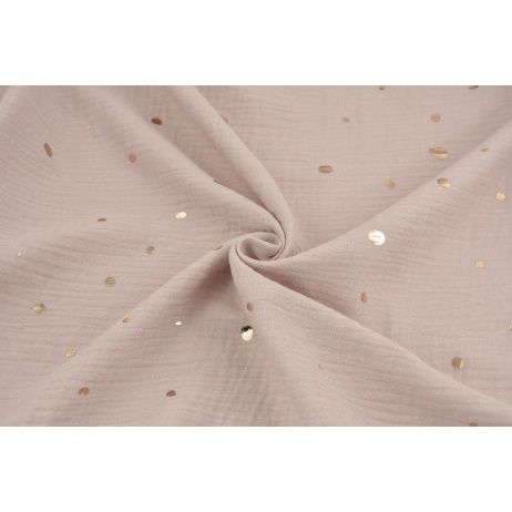 Double gauze 100% cotton golden irregular spots on a powder pink background