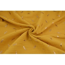 Double gauze 100% cotton golden feathers on a honey background