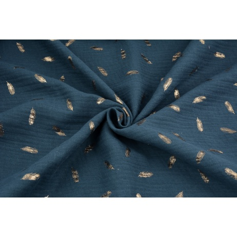 Double gauze 100% cotton golden feathers on a dark jeans background
