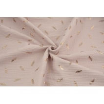 Double gauze 100% cotton golden feathers on a powder pink background