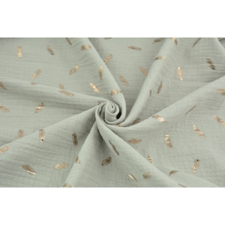 Double gauze 100% cotton golden feathers on a gray-beige background
