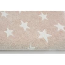 Fleece in white stars on a powder dirty pink background