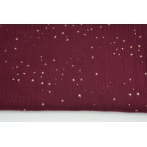 Double gauze 100% cotton golden mini stars on a burgundy background II quality
