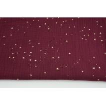 Muślin bawełniany, burgund w złote mini gwiazdki II jakość