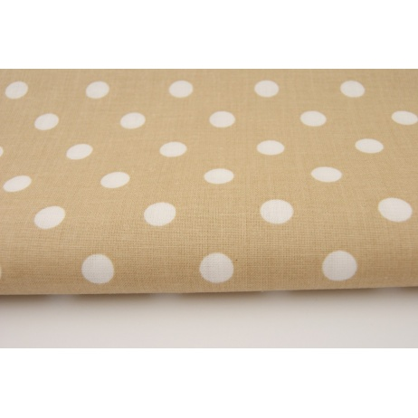 Cotton 100% dots 9mm on a beige background