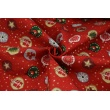 Cotton 100% small Christmas balls with gold on a red background, poplin