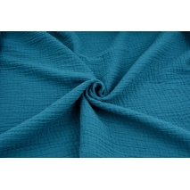 Double gauze 100% cotton plain dark turquoise