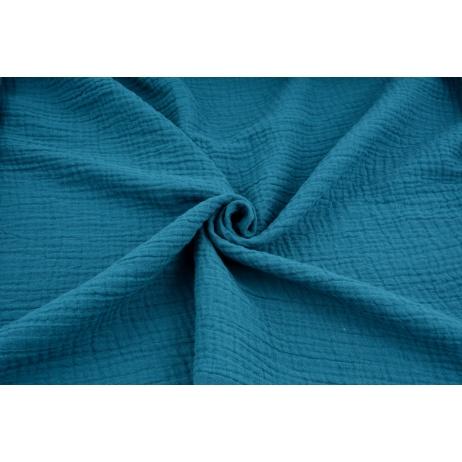 Double gauze 100% cotton plain dark turquoise