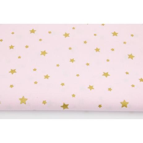 Cotton 100% gold stars on a light pink background
