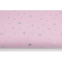 Cotton 100% silver stars on a violet pink background II quality