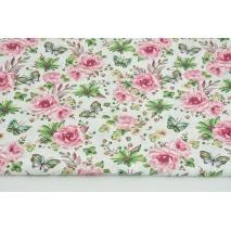 Bawełna 100% róże, motyle c.różowo-zielone