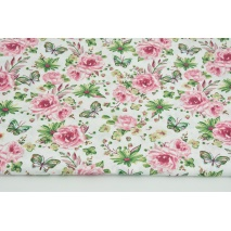 Cotton 100% roses, butterflies dark pink-green