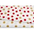 Cotton 100% bordeaux, gold dots 15mm on a white background