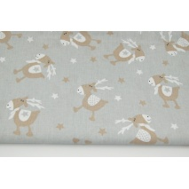 Cotton 100% beige reindeers, stars on a light gray background II quality