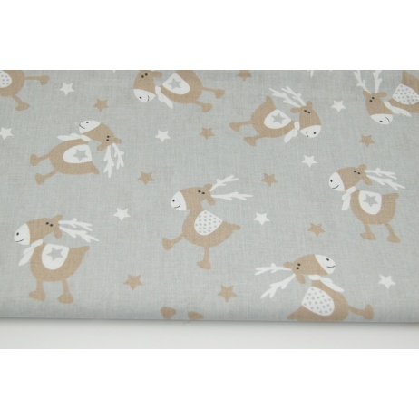 Cotton 100% beige reindeers, stars on a light gray background