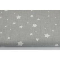 Bawełna 100%, białe gwiazdy, gwiazdki na szarym tle II jakość