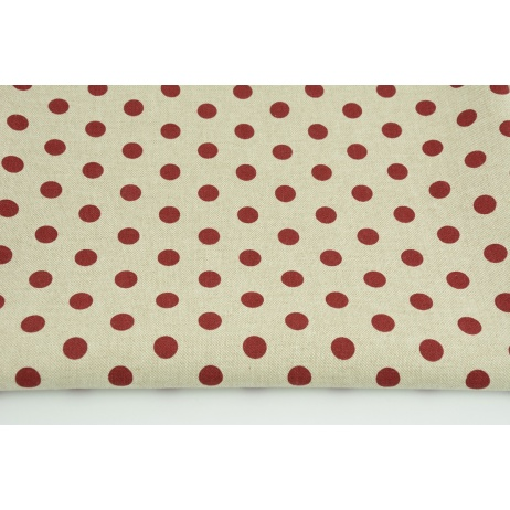 Decorative fabric, bordeaux dots 12mm on a linen background 200g/m2
