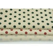 Decorative fabric, dark green dots 12mm on a linen background 200g/m2
