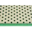 Tkanina dekoracyjna, ciemnozielone kropki 12mm na lnianym tle 200g/m2