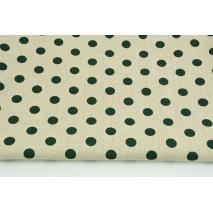 Decorative fabric, dark green dots 12mm on a linen background 200g/m2