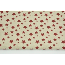 Decorative fabric, bordeaux stars on a linen background 200g/m2