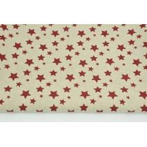 Tkanina dekoracyjna, bordowe gwiazdki na lnianym tle 200g/m2