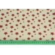 Decorative fabric, bordeaux stars on a linen background 200g/m2