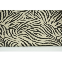 Decorative fabric, black zebra on a linen background 200g/m2