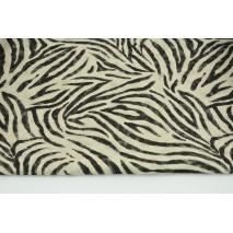 Tkanina dekoracyjna, czarna zebra na lnianym tle 200g/m2