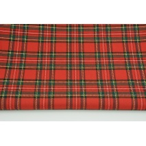Clothing fabric with elastane, medium tartan check red-green