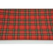 Tkanina odzieżowa z elastanem, średnia krata czerwono-zielona